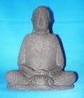Buddha en pierre de lave, noir