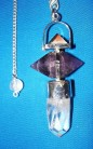 Pyramid pendulum with amethyst and rock crystal