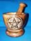 Wooden mortar with pentagram