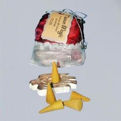 Coni incenso Tissue Magic, con supporto e sacchetto, alla rosa