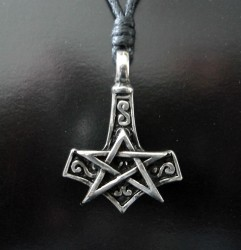 Zinn-Anhänger Pentagramm mit Thor´s Hammer