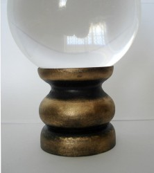 Crystal Ball Holder black/gold from wood, big