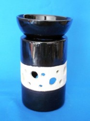 Oil Burner round with bark structure black/white