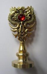 Siegelstempel Drache mit rotem Stein Pentagramm