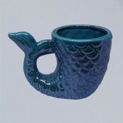 Ceramic ritual vessel fish blue Yemaya.