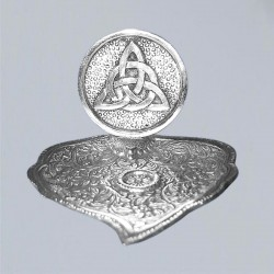 Räucherstäbchenhalter Metall Blatt mit Triquetta