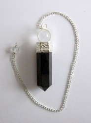 Pendulum with black tourmaline and rock crystal