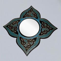 Spiegel Blumenkontur mit Celtik-Knoten blau