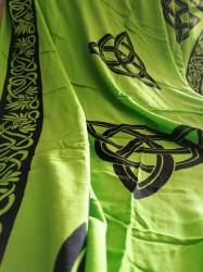 Tessuto con motivi celtici e Triquetta Verde