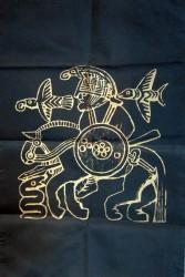 Tuch Odin mit Pferd schwarz/gold