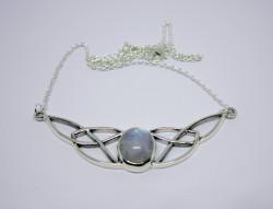 Silber-Collier keltischer Knoten mit Regenbogen Mondstein