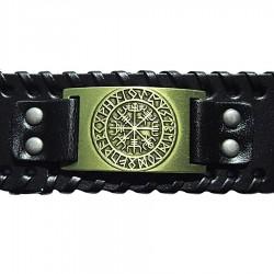 Bracelet en cuir Viking Aegishjalmur symbole de protection