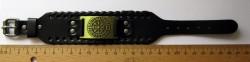 Viking leather bracelet Aegishjalmur symbol of protection