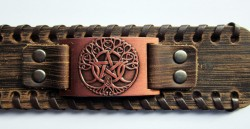 Wicca leather bracelet with triple moon tree of life and pentagram