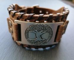 Leather bracelet Tree of Life (Yggdrasil)