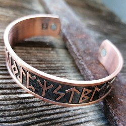 Runic bangle made of copper with magnets