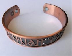 Runen Armreif aus Kupfer mit Magneten