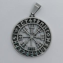 Pendente in acciaio inossidabile Bussola vichinga traforata con cerchio runico