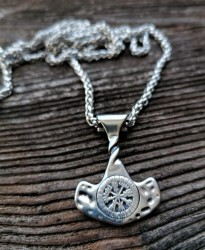 Stainless steel necklace Thor's hammer with rune circle