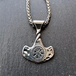 Collier en acier inoxydable Marteau de Thor avec cercle runique