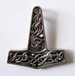 Ciondolo martello di Thor con motivo a nodi, argento placcato