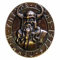 Decorative rivet in antique brass-look Odin Amulet