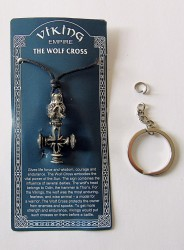 Pewter pendant Wolf cross