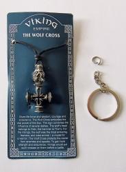 Pewter pendant Wolf cross
