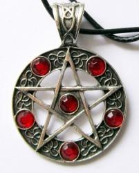 Anhänger Pentagramm mit blutroten Steinen