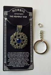 Pewter pendant Heavenly Star with blue stone