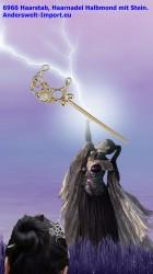 Bâton à cheveux, épingle à cheveux croissant de lune avec pierre
