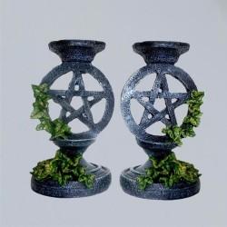 Kerzenständer Pentagramm mit Efeu 2 Stück