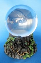 Glaskugelhalter Jungfrau, Mutter, Greisin mit 11 cm Glaskugel