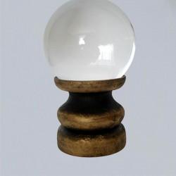 Support pour boule de cristal, noir/or en bois
