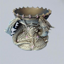 Support pour boule de cristal Dragon avec pentagramme
