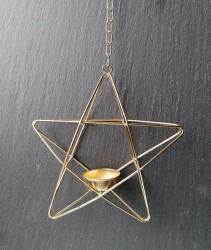 Tealight holder pentagram hanging gold colored