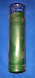 Through couloured candles in glass green PU = 12 pieces