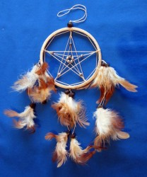 Dream Catcher with Pentagram Natural (beige)