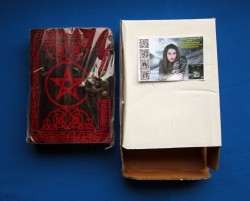 Book of Shadows pentagram red with brass fittings