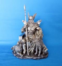 Odin Wotan Figura di poliresina bronzata