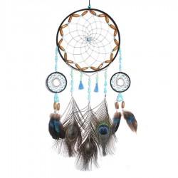 Dreamcatcher mit Perlen und Pfauenfedern
