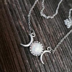 Wicca Halskette Triple Moon mit Kunststein